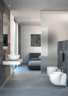 Open bedroom and bathroom