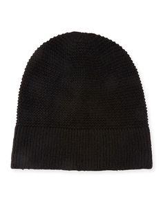 Garter-Stitched Headphone Beanie Hat, Black