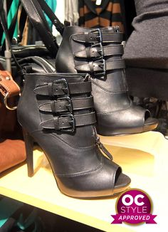The epitome of awesome: Open toe booties - Oshawa Centre Style Approved by Åberg Almeida - Find it at Le Chateau Open Toe Booties, Centre, Biker, Booty, Ankle, Awesome, Shoes, Fashion, Moda