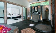 Modern Balinese Villa Surrounded by Total Relaxation: Enchanting Bathroom Design In Villa Les Rizieres With Black Colored Floor Made From Ma. Casa Feng Shui, Balinese Villa, Marble Block, Luxury Villa Rentals, Secret Rooms, Interior Decorating, Interior Design, Bathroom Spa, Amazing Bathrooms