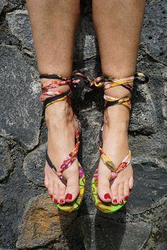 Black Dashiki Print African Ankara Wax Cotton Strappy Sandals US Size 9.5 or Euro Size 40