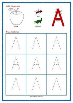 Free Printable Alphabet Worksheets, Letter Worksheets For Preschool, Abc Worksheets, Preschool Letters, Kindergarten Worksheets, Tracing Letters, Free Printables, Abc Tracing, Free Preschool