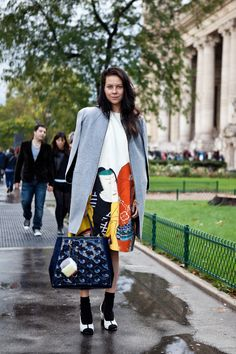 Stylist Charlotte Stockdale outside the Grand Palais in Paris