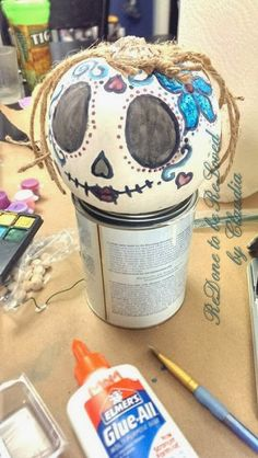 Dia de los Muertos / Day of the Dead Pumpkin Head Crafts! ReDone To Be ReLoved by Claudia Halloween Boo, Holidays Halloween, Halloween Crafts, Holiday Crafts, Holiday Fun, Halloween Decorations, Halloween Ideas, Holiday Ideas, Sugar Skull Pumpkin