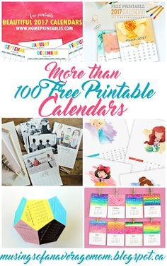 Over 100 free printable calendars for 2017! Including monthly, yearly and printable planners.