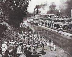 Historic Memphis Cobblestone Landing and Riverfront. Memphis Landing Showboat 1900