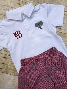 Monogrammable Elephant Embroidered Polo Shirt & Crimson Gingham Elephant…