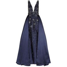 Jovani Sequin Embellished Ball Gown ($1,695) ❤ liked on Polyvore featuring dresses, gowns, long dresses, blue evening gown, blue ball gown, blue evening dresses and jovani gowns