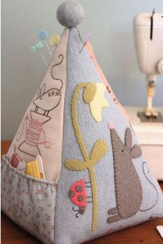 Pattern for sale for an adorable pincushion/sewing storage