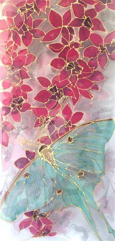 Silk Scarf Handpainted, Luna Moth Scarf, Large Chiffon Scarf, Gray Scarf, Takuyo, Pink Purple Orchids, Mint Green Luna Moth, Made to order