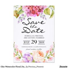 Chic Watercolor Floral | Save the Date2 Card