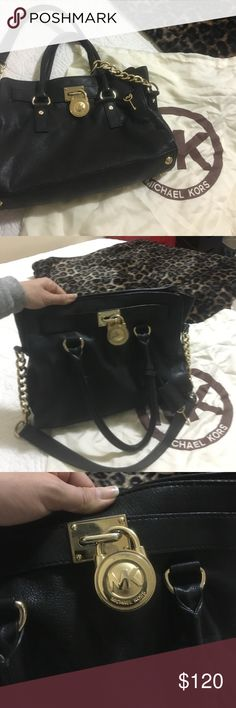 Michael Kors Hamilton Bag Pebbles Black Leather Hamilton bag with chain and lock detail... Great Condition!!! Michael Kors Bags Shoulder Bags