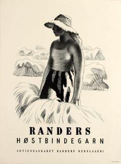 Randers Ropes Young Lady, 1940s - original vintage poster by Aage Sikker Hansen listed on AntikBar.co.uk