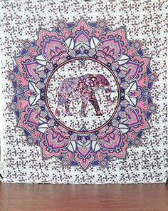 Jaipurhandloom Christmas Gift Elephant Hippie Mandala Bohemian Psychedelic Intricate Floral Design Indian Bedspread Magical Thinking Tapestry -- You can get additional details at the image link.