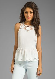 LINE & DOT Embroidered Peplum Top in White - Line & Dot