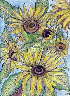 """""""Sunflowers"""" 9x12""""  Ink, watercolor pencils. Matted, shrink wrapped and ready to ship to you today! Original and prints available."""