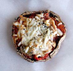 Roasted Red Pepper Chicken Portobello Mushroom Mini Pizzas