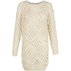 Blue Vanilla Stone Crochet Jumper ($38) ❤ liked on Polyvore featuring tops, sweaters, stone, white long sleeve top, long sleeve tops, white sweater, stone top and crochet top