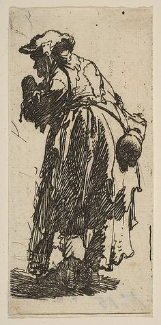 Old Beggar Woman with a Gourd Rembrandt (Rembrandt van Rijn)  (Dutch, Leiden 1606–1669 Amsterdam) Date: ca. 1630 Medium: Etching Classification: Prints Credit Line: Gift of Felix M. Warburg and his family, 1941 Accession Number: 41.1.65