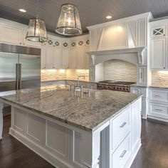 Omg this kitchen cabinet color and style, counter tops, and island