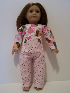 American Girl pajamas flannel pink white brown by EverSewSweet, $14.00