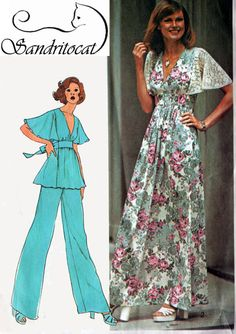 I remember this pattern well! Vintage 70s Simplicity 6710 Retro Empire Waist by sandritocat, $10.00