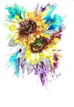 sunflower watercolor images - Google Search