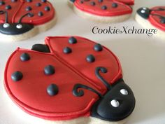 decorated+cookies | Ladybug Cookie Decorated Cookies favors baby shower birthday or just ...