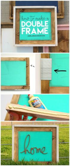 These double wood frames are so gorgeous. A fun twist on those popular frames.but just chunkier! YOu can make them look so different with paint and stain! A perfect girls night craft! Crafts To Make And Sell, Easy Diy Crafts, Diy Craft Projects, Wood Projects, Craft Ideas, Diy Ideas, Vinyl Crafts, Wooden Crafts, Paper Crafts