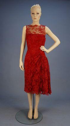ESTEVEZ SILK and LACE COCKTAIL DRESS, LATE 1960s.