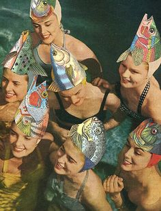 Mysterious.... I have no info on why this fish hat swimming cap extravaganza is…