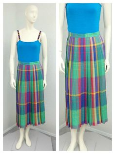 Vintage 80s Rayon Multicolored Pleated Plaid by SprightlyVogue, $34.00