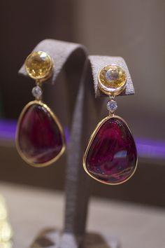Goshwara tumbled tourmaline and yellow beryl earrings