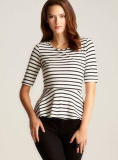 A dressy way to wear stripes! #peplum
