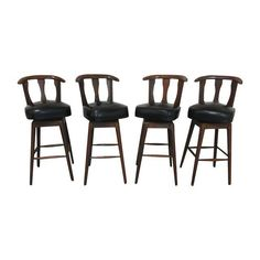 Mid-century Modern Swivel Bar Stools - Set Of 4