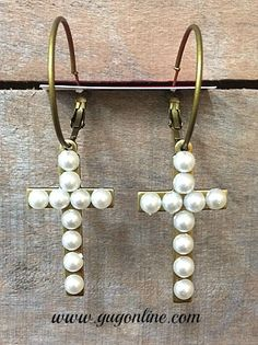 Save 10% by use the discount code GUGREPKCAR at www.gugonline.com! Pearl Studs on Bronze Cross Hoop Earrings $24.95