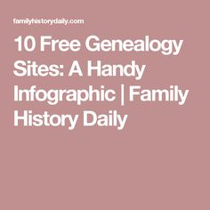 10 Free Genealogy Sites: A Handy Infographic | Family History Daily