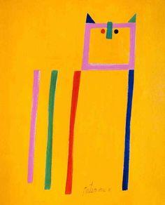 Fundo amarelo com traços rosa verde azul e vermelho