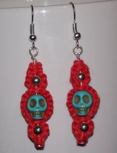 Turquoise Howlite Skull and Red Hemp Jewelry - Hemp Jewelry from Exquisitely Original