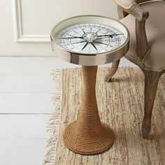 Working Compass Accent Table -  What a great accent piece for a beach or lake house.