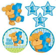 The Bear's First Birthday Boy Cutout Assortment is a cuddly sweet way to celebrate. These fun decorations will be a party hit, featuring a birthday bear cutout carrying a blue polka-dotted number Party Supply Store, Thing 1, Bear Party, Boy First Birthday, Birthday Party Themes, Birthday Ideas, Hat Making, Teak, First Birthdays