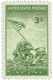 When the Iwo Jima stamp was  proposed, some people protested because it would picture living people - a violation of postal regulations. However, once it was issued, it became the most popular U.S. commemorative at that time.