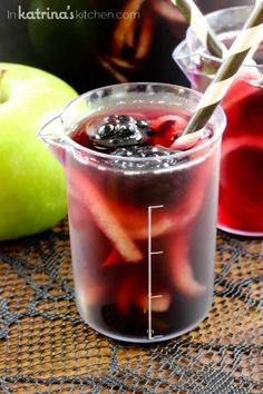 Make this festive Blackberry Apple Spooky Sangria recipe with spirialized apples to really spook your guests! Use juice to make it non-alcoholic for kids.