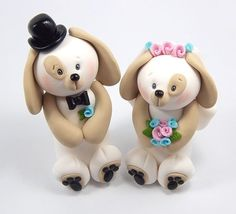 Custom Wedding Cake Topper - Dogs Couple - Polymer Clay Figurines