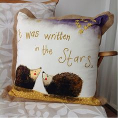Alex Clark Written in the Stars Cushion. The Alex Clark decorative sparkle design cushion features two hedgehogs in love. This cushion makes a fantastic engagement, anniversary or Valentine's gift. Star Cushion, Jute, Valentine Gifts, Home Accessories, Cushions, Throw Pillows, Stars, Design, Decor