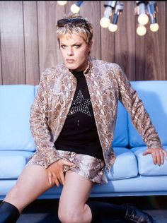 Eddie Izzard.  Who cares if he dresses in drag?