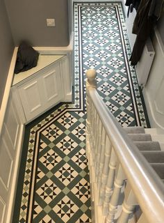 Victorian floor tiles and contemporary geometric ceramic tiles. Specialists in the design and supply of mosaic tile schemes. Victorian Hallway Tiles, Edwardian Hallway, Tiled Hallway, Tile On Stairs, Edwardian Staircase, Victorian Fireplace Tiles, Victorian Flooring, Victorian Mosaic Tile, Victorian Stairs