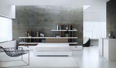 Dormitorio en estilo moderno en blanco. Perfecto para darle a tu dormitorio un toque de modernidad. Divider, Shelves, Room, Furniture, Home Decor, House Decorations, Yurts, Trendy Tree, Style