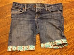 must do this for all the kids jeans with knees blown out!  Repurpusing jeans that are too short or too worn or just plain boring....