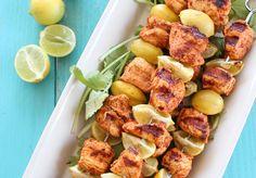 Brocheta de pollo al limón